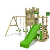 FATMOOSE Ritterburg BoldBaron Boost XXL Spielturm Kinder-Spielplatz mit Schaukel und Rutsche, extrabreitem Sandkasten und Podest - 1