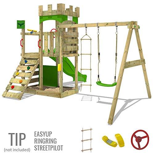 FATMOOSE Ritterburg BoldBaron Boost XXL Spielturm Kinder-Spielplatz mit Schaukel und Rutsche, extrabreitem Sandkasten und Podest - 3
