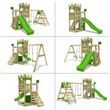 FATMOOSE Ritterburg BoldBaron Boost XXL Spielturm Kinder-Spielplatz mit Schaukel und Rutsche, extrabreitem Sandkasten und Podest - 4