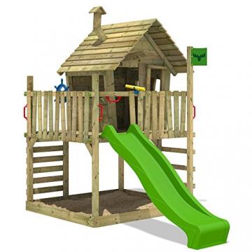 FATMOOSE Spielhaus auf Podest WackyWorld Mega XXL Spielturm Kletterturm mit Rutsche, Holzdach, Kletterleiter und großem Sandkasten - 2