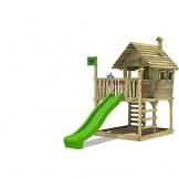 FATMOOSE Spielhaus auf Podest WackyWorld Mega XXL Spielturm Kletterturm mit Rutsche, Holzdach, Kletterleiter und großem Sandkasten - 1