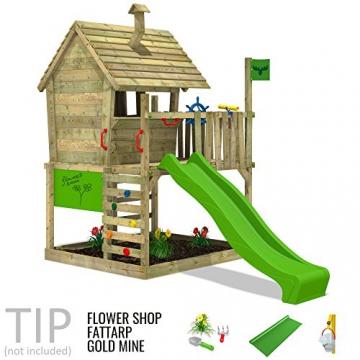 FATMOOSE Spielhaus auf Podest WackyWorld Mega XXL Spielturm Kletterturm mit Rutsche, Holzdach, Kletterleiter und großem Sandkasten - 3