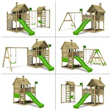 FATMOOSE Spielhaus auf Podest WackyWorld Mega XXL Spielturm Kletterturm mit Rutsche, Holzdach, Kletterleiter und großem Sandkasten - 4