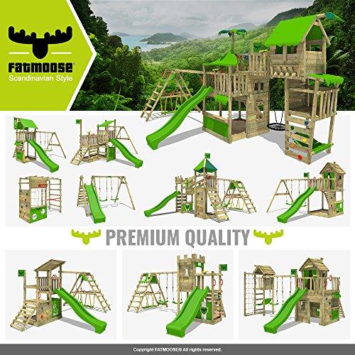 FATMOOSE Spielhaus auf Podest WackyWorld Mega XXL Spielturm Kletterturm mit Rutsche, Holzdach, Kletterleiter und großem Sandkasten - 5