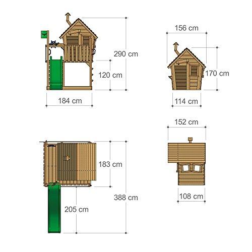 FATMOOSE Spielhaus auf Podest WackyWorld Mega XXL Spielturm Kletterturm mit Rutsche, Holzdach, Kletterleiter und großem Sandkasten - 6