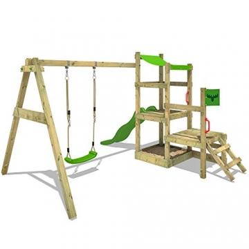 FATMOOSE Spielhaus RabbitRally Racer XXL Spielturm Holz mit 3 Ebenen Rutsche Schaukel Sandkasten -