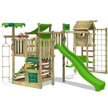 FATMOOSE Spielturm BananaBeach Big XXL Kinder-Spielplatz mit Turmanbau inkl. Holzdach Schaukel Rutsche Sandkasten Hängematte Kletternetz und unbegrenzten Spielmöglichkeiten - 2