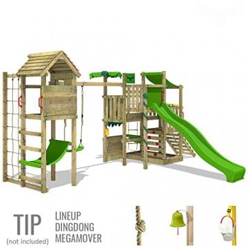 FATMOOSE Spielturm BananaBeach Big XXL Kinder-Spielplatz mit Turmanbau inkl. Holzdach Schaukel Rutsche Sandkasten Hängematte Kletternetz und unbegrenzten Spielmöglichkeiten - 3