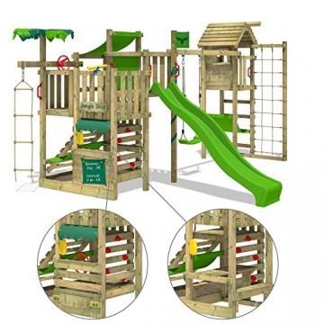 FATMOOSE Spielturm BananaBeach Big XXL Kinder-Spielplatz mit Turmanbau inkl. Holzdach Schaukel Rutsche Sandkasten Hängematte Kletternetz und unbegrenzten Spielmöglichkeiten - 4