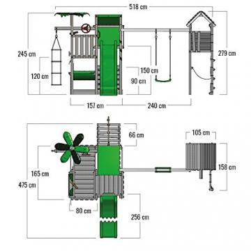 FATMOOSE Spielturm BananaBeach Big XXL Kinder-Spielplatz mit Turmanbau inkl. Holzdach Schaukel Rutsche Sandkasten Hängematte Kletternetz und unbegrenzten Spielmöglichkeiten - 6