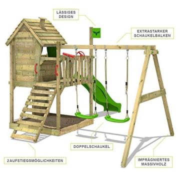 FATMOOSE Spielturm DonkeyDome Double XXL Stelzenhaus Kletterturm Baumhaus mit Doppelschaukel, Rutsche und großem Sandkasten - 2