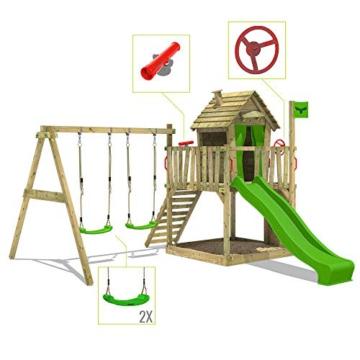 FATMOOSE Spielturm DonkeyDome Double XXL Stelzenhaus Kletterturm Baumhaus mit Doppelschaukel, Rutsche und großem Sandkasten - 3