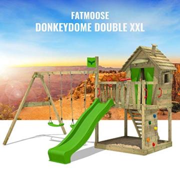 FATMOOSE Spielturm DonkeyDome Double XXL Stelzenhaus Kletterturm Baumhaus mit Doppelschaukel, Rutsche und großem Sandkasten - 4