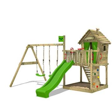 FATMOOSE Spielturm DonkeyDome Double XXL Stelzenhaus Kletterturm Baumhaus mit Doppelschaukel, Rutsche und großem Sandkasten - 1