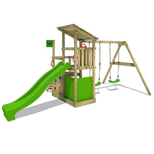 FATMOOSE Spielturm FruityForest Fun XXL Klettergerüst Kletterturm auf 3 Ebenen im Hochsitz-Style mit schrägem Holzdach, Schaukel mit 2 Sitzen, Rutsche und viel Zubehör - 2