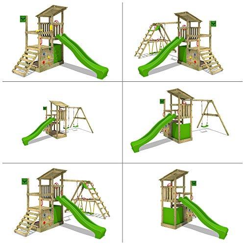 FATMOOSE Spielturm FruityForest Fun XXL Klettergerüst Kletterturm auf 3 Ebenen im Hochsitz-Style mit schrägem Holzdach, Schaukel mit 2 Sitzen, Rutsche und viel Zubehör - 4