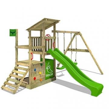 FATMOOSE Spielturm FruityForest Fun XXL Klettergerüst Kletterturm auf 3 Ebenen im Hochsitz-Style mit schrägem Holzdach, Schaukel mit 2 Sitzen, Rutsche und viel Zubehör - 1