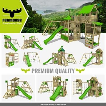 FATMOOSE Spielturm FruityForest Fun XXL Klettergerüst Kletterturm auf 3 Ebenen im Hochsitz-Style mit schrägem Holzdach, Schaukel mit 2 Sitzen, Rutsche und viel Zubehör - 5