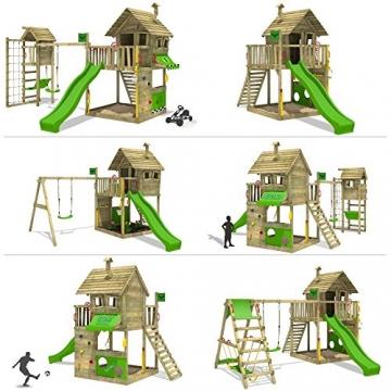 FATMOOSE Spielturm GroovyGarden Combo XXL Baumhaus Stelzenhaus mit großem Sandkasten, Rutsche und Schaukelanbau - 2