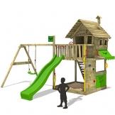 FATMOOSE Spielturm GroovyGarden Combo XXL Baumhaus Stelzenhaus mit großem Sandkasten, Rutsche und Schaukelanbau - 1
