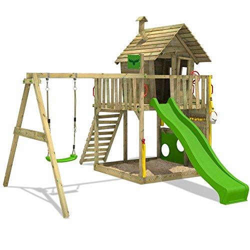 FATMOOSE Spielturm GroovyGarden Combo XXL Baumhaus Stelzenhaus mit großem Sandkasten, Rutsche und Schaukelanbau - 3