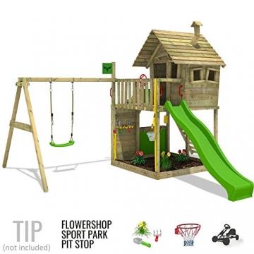 FATMOOSE Spielturm GroovyGarden Combo XXL Baumhaus Stelzenhaus mit großem Sandkasten, Rutsche und Schaukelanbau - 4