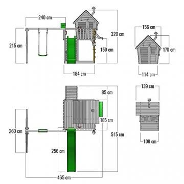 FATMOOSE Spielturm GroovyGarden Combo XXL Baumhaus Stelzenhaus mit großem Sandkasten, Rutsche und Schaukelanbau - 5