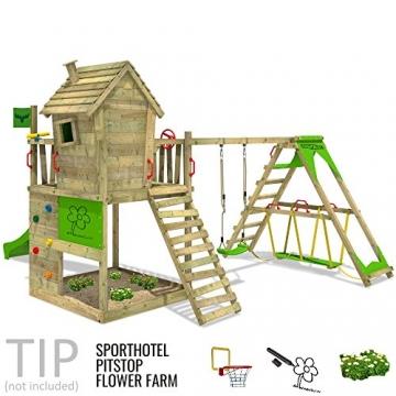 FATMOOSE Spielturm HappyHome Hot XXL Stelzenhaus Baumhaus Klettergerüst mit Schaukel, Surfanbau und Rutsche -