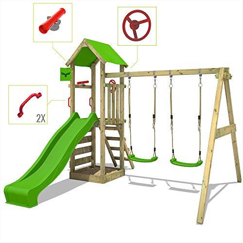 FATMOOSE Spielturm KiwiKey Kick XXL Kletterturm mit Doppelschaukel, grüner Rutsche, und Sandkasten - 2