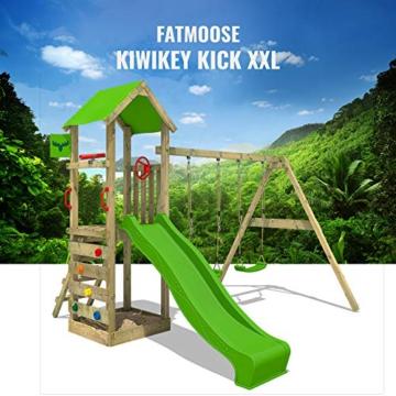 FATMOOSE Spielturm KiwiKey Kick XXL Kletterturm mit Doppelschaukel, grüner Rutsche, und Sandkasten - 3