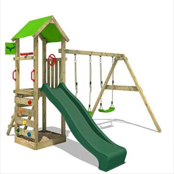 FATMOOSE Spielturm KiwiKey Kick XXL Kletterturm mit Doppelschaukel, grüner Rutsche, und Sandkasten - 1
