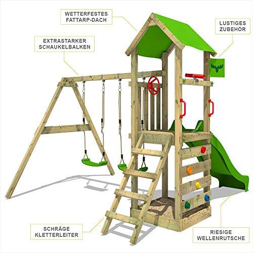 FATMOOSE Spielturm KiwiKey Kick XXL Kletterturm mit Doppelschaukel, grüner Rutsche, und Sandkasten - 5