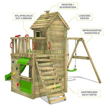 FATMOOSE Spielturm Klettergerüst CrazyCat mit Schaukel & apfelgrüner Rutsche, Spielhaus mit Leiter & Spiel-Zubehör - 2