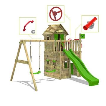 FATMOOSE Spielturm Klettergerüst CrazyCat mit Schaukel & apfelgrüner Rutsche, Spielhaus mit Leiter & Spiel-Zubehör - 3