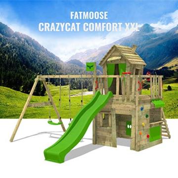 FATMOOSE Spielturm Klettergerüst CrazyCat mit Schaukel & apfelgrüner Rutsche, Spielhaus mit Leiter & Spiel-Zubehör - 5