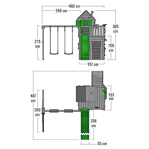 FATMOOSE Spielturm Klettergerüst CrazyCat mit Schaukel & apfelgrüner Rutsche, Spielhaus mit Leiter & Spiel-Zubehör - 6