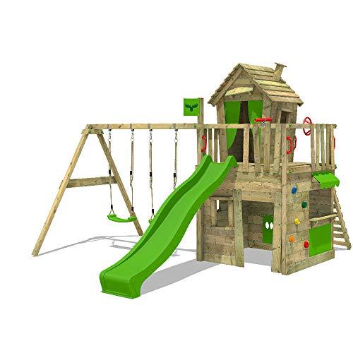 FATMOOSE Spielturm Klettergerüst CrazyCat mit Schaukel & apfelgrüner Rutsche, Spielhaus mit Leiter & Spiel-Zubehör - 1
