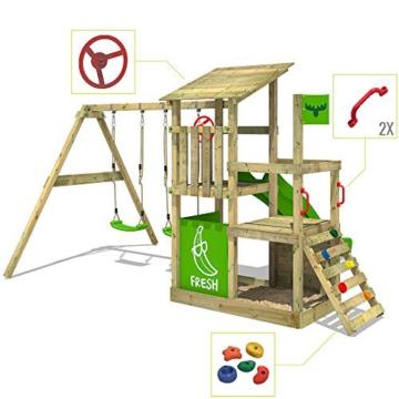 FATMOOSE Spielturm Klettergerüst FruityForest Fun XXL mit Doppel-Schaukel & grüner Rutsche, Spielhaus mit Sandkasten, Kletterwand & viel Spiel-Zubehör - 2