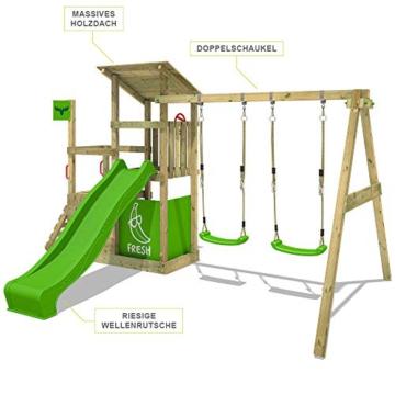 FATMOOSE Spielturm Klettergerüst FruityForest Fun XXL mit Doppel-Schaukel & grüner Rutsche, Spielhaus mit Sandkasten, Kletterwand & viel Spiel-Zubehör - 4
