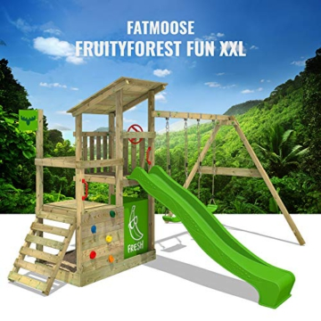 FATMOOSE Spielturm Klettergerüst FruityForest Fun XXL mit Doppel-Schaukel & grüner Rutsche, Spielhaus mit Sandkasten, Kletterwand & viel Spiel-Zubehör - 7