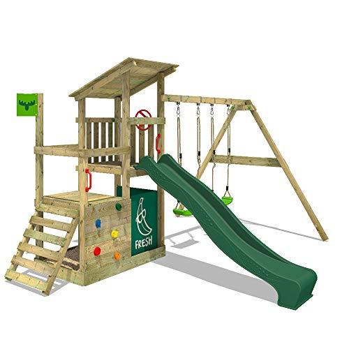 FATMOOSE Spielturm Klettergerüst FruityForest Fun XXL mit Doppel-Schaukel & grüner Rutsche, Spielhaus mit Sandkasten, Kletterwand & viel Spiel-Zubehör - 1