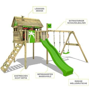 FATMOOSE Spielturm Klettergerüst FunFactory mit Schaukel & grüner Rutsche, Stelzenhaus mit Leiter & Spiel-Zubehör - 2