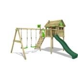 FATMOOSE Spielturm Klettergerüst FunFactory mit Schaukel & grüner Rutsche, Stelzenhaus mit Leiter & Spiel-Zubehör - 1