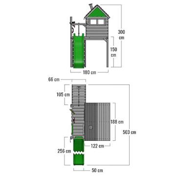 FATMOOSE Spielturm Klettergerüst FunFactory mit Schaukel & grüner Rutsche, Stelzenhaus mit Leiter & Spiel-Zubehör - 3