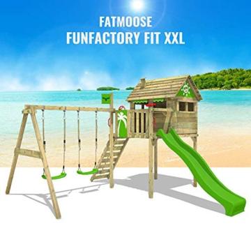 FATMOOSE Spielturm Klettergerüst FunFactory mit Schaukel & grüner Rutsche, Stelzenhaus mit Leiter & Spiel-Zubehör - 4