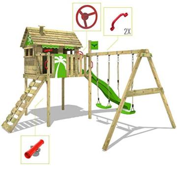 FATMOOSE Spielturm Klettergerüst FunFactory mit Schaukel & grüner Rutsche, Stelzenhaus mit Leiter & Spiel-Zubehör - 6