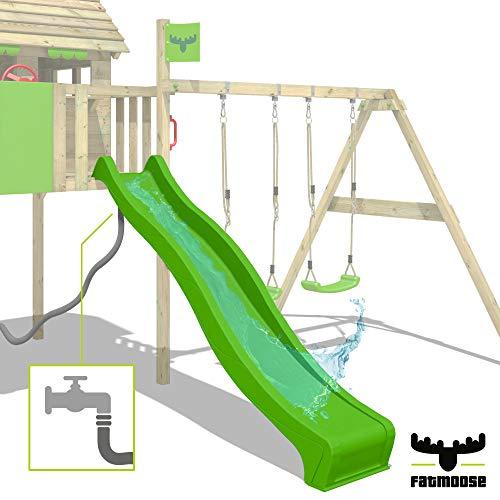 FATMOOSE Spielturm Klettergerüst FunFactory mit Schaukel & grüner Rutsche, Stelzenhaus mit Leiter & Spiel-Zubehör - 7