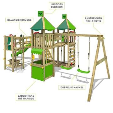 FATMOOSE Spielturm Klettergerüst FunnyFortress Free XXL mit Schaukel & grüner Rutsche, Fettes Garten-Spielgerät mit Sandkasten, Kletterwand & viel Spiel-Zubehör - 2