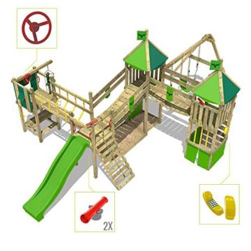 FATMOOSE Spielturm Klettergerüst FunnyFortress Free XXL mit Schaukel & grüner Rutsche, Fettes Garten-Spielgerät mit Sandkasten, Kletterwand & viel Spiel-Zubehör - 3