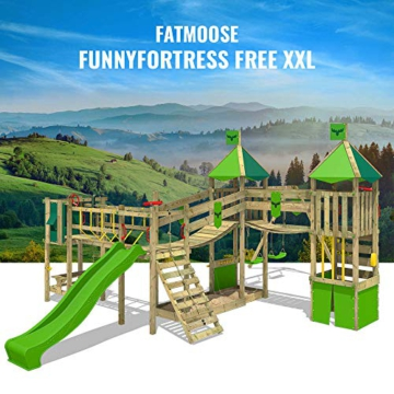 FATMOOSE Spielturm Klettergerüst FunnyFortress Free XXL mit Schaukel & grüner Rutsche, Fettes Garten-Spielgerät mit Sandkasten, Kletterwand & viel Spiel-Zubehör - 4